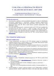 vyhláška o přijímacím řízení v akademickém roce 2007/2008