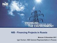 NIB - Financing Projects in Russia