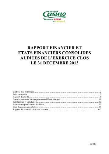Etats financiers consolidés 2012 - Groupe Casino