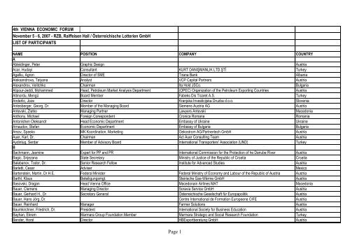 List of Participants 4th VEF Vienna Economic Forum