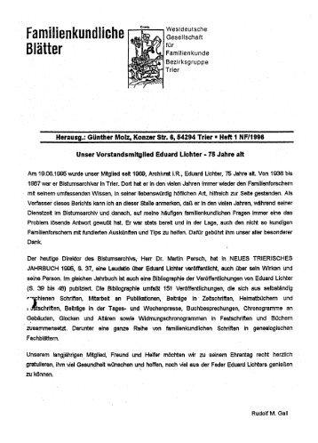 Familienkundliche Blätter - Trier - WGfF