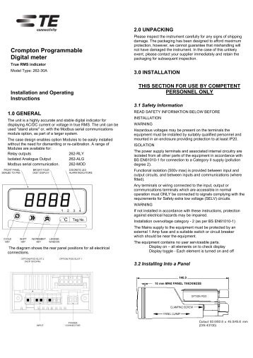 262-30A Installation & Operation Manual - Crompton Instruments