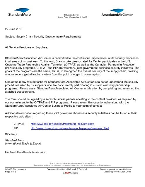 Supply Chain Security Questionnaire - Cover Letter ...