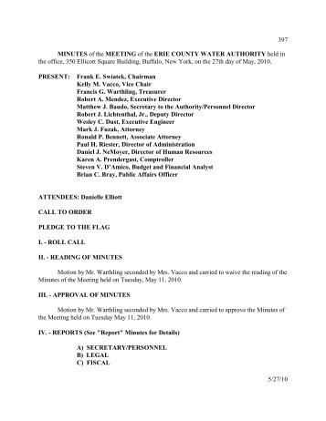MINUTES of the MEETING of the ERIE COUNTY WATER ...