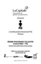 RÉGIME D'ASSURANCE COLLECTIVE Contrat 6000 – FTQ