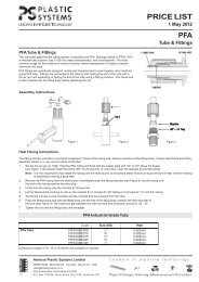 SAMPLE PRODUCT RANGE - PFA Tube & Flare - Plastic Systems