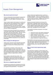 Supply Chain Management Factsheet - Constructing Excellence