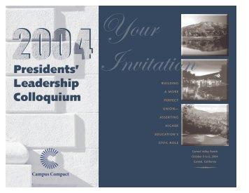Presidents' Leadership Colloquium - Campus Compact