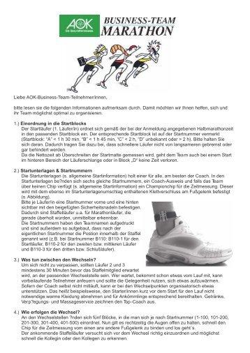 Liebe AOK-Business-Team-Teilnehmer/innen ... - Baden Marathon
