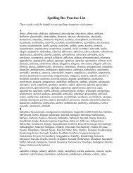 Spelling Bee Practice List