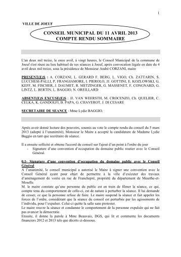 conseil municipal du 11 avril 2013 compte rendu sommaire - Joeuf