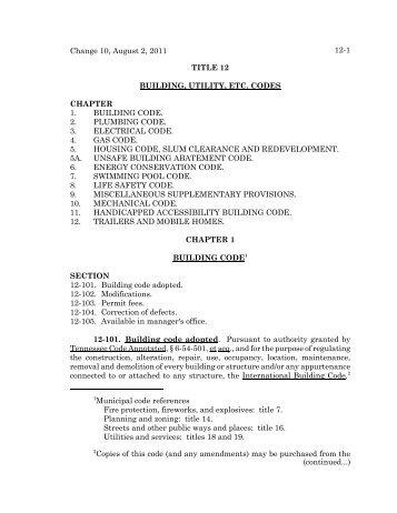Change 10, August 2, 2011 12-1 1Municipal code ... - MTAS
