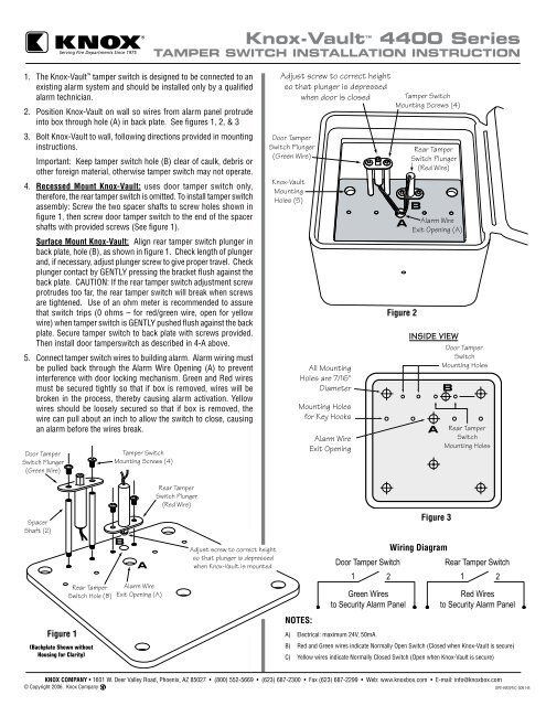 4400 Series Tamper Switch Install Instructions - Knox Box on conduit wiring diagram, battery wiring diagram, door contact wiring diagram, installation wiring diagram, smoke detector wiring diagram, keypad wiring diagram, range wiring diagram, siren wiring diagram, buzzer wiring diagram, duct detector wiring diagram, tandem wiring diagram, power wiring diagram, dimensions wiring diagram, alarm relay wiring diagram, fire alarm wiring diagram, accessories wiring diagram, heat detector wiring diagram,