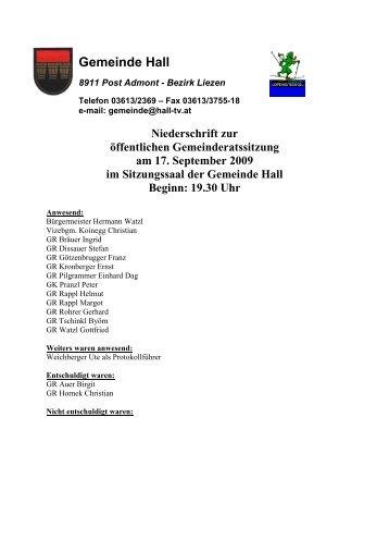 Gemeinderatssitzungsprotokoll vom 17.09.2009 - Gemeinde Hall