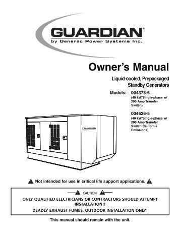 Generac 14kw Generator Installation Manual