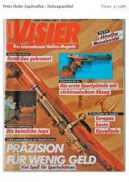 Peter Hofer Jagdwaffen - Zeitungsartikel Visier 4/1988