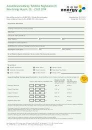 Anmeldung New Energy Husum 2014