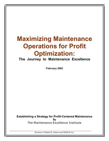 Maximizing Maintenance Operations for Profit Optimization - Plant ...