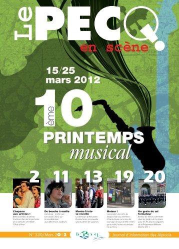 N° 330/Mars 2O12 Journal d'information des Alpicois - Le Pecq
