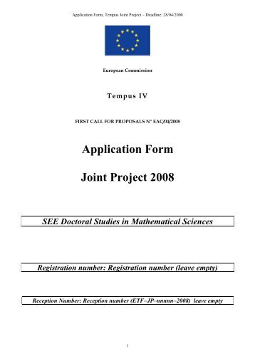 Application Form Joint Project 2008 SEE Doctoral Studies in ... - PMF