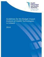 Guidelines for the Budget Impact Analysis of Health ... - hiqa.ie