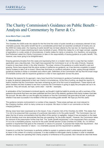 The Charity Commission's Guidance on Public Benefit ... - Farrer & Co
