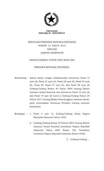 Perpres No. 12 Tahun 2013 tentang Jaminan Kesehatan