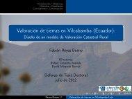 Valoración de tierras en Vilcabamba (Ecuador):