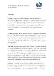 Relatório Liberdade de Imprensa no Brasil 2011 - Abert