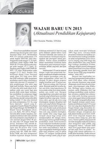 WAJAH BARU UN 2013 (Aktualisasi Pendidikan ... - Kemenag Jatim