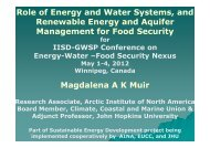 Role of Energy and Water Systems, and Renewable Energy and ...