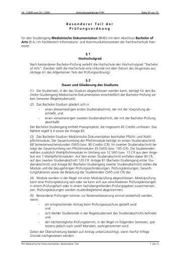 Besonderer Teil der Prüfungsordnung für den Studiengang ...