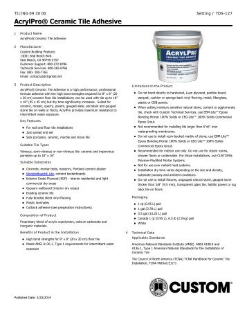 AcrylPro® Ceramic Tile Adhesive - Custom Building Products