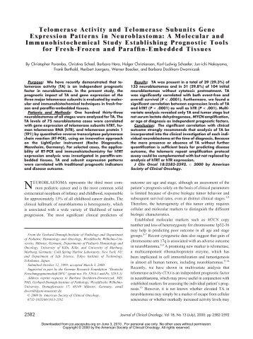 Telomerase Activity and Telomerase Subunits Gene Expression ...