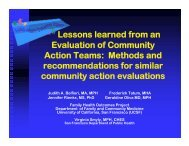 Lessons learned from an Evaluation of Community Action Teams ...