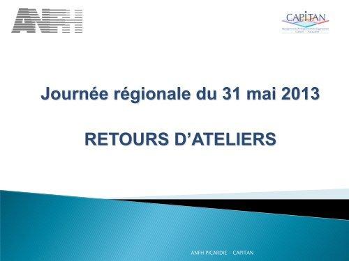 Journée régionale du 31 mai 2013 RETOURS D'ATELIERS - Anfh