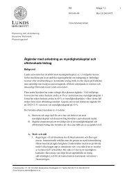 Åtgärder med anledning av myndighetskapital ... - Lunds universitet