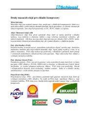 Druhy mazacích olejů pro chladící kompresory