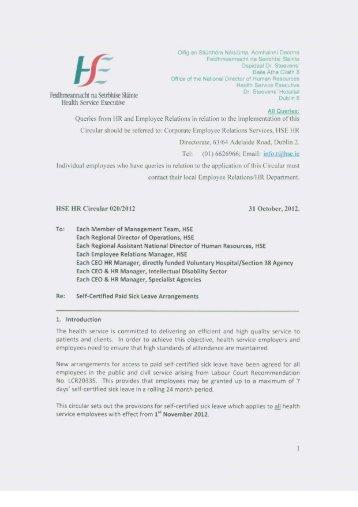 Self-Certified Paid Sick Leave Arrangements - Circulars