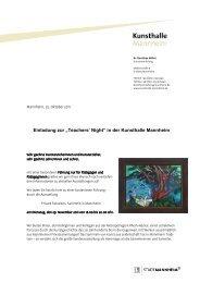 """Einladung zur """"Teachers' Night"""" in der Kunsthalle Mannheim"""