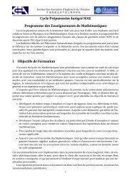 Cycle Préparatoire Intégré SIAE Programme des Enseignements de ...