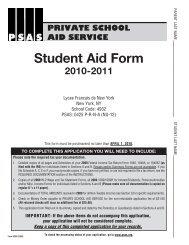 Student Aid Form • 2010 - Lycée Français de New York