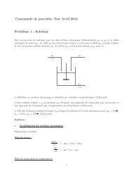 Commande de procédés, Test Avril 2013 Probl`eme 1 - Solution
