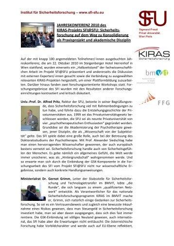JAHRESKONFERENZ 2010 des KIRAS-Projekts SFI@SFU ...