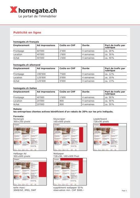 Liste de prix pour les entreprises clientes - Myhomegate.ch