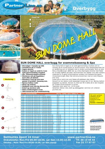 SUN DOME HALL SUN DOME HALL SUN DOME ... - Partnerline AS