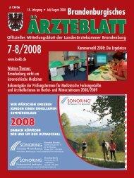 Brandenburgisches Ärzteblatt 7-8/2008 - Landesärztekammer ...