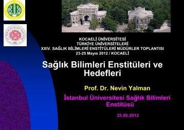 Prof.Dr. Nevin YALMAN - Türkiye Üniversiteleri Sağlık Bilimleri ...