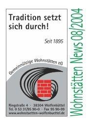 News 08/2004 - Gemeinnützige Wohnstätten eG Wolfenbüttel