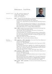 Vizi Péter: Curriculum Vitae - Pázmány Péter Katolikus Egyetem